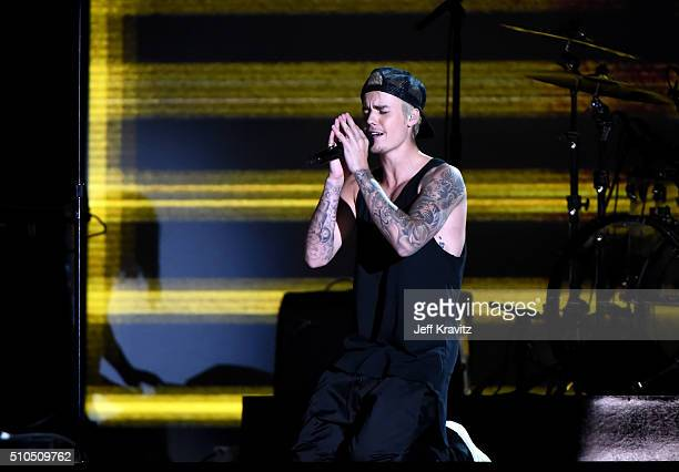 Singer Justin Bieber performs onstage during The 58th GRAMMY Awards at Staples Center on February 15 2016 in Los Angeles California