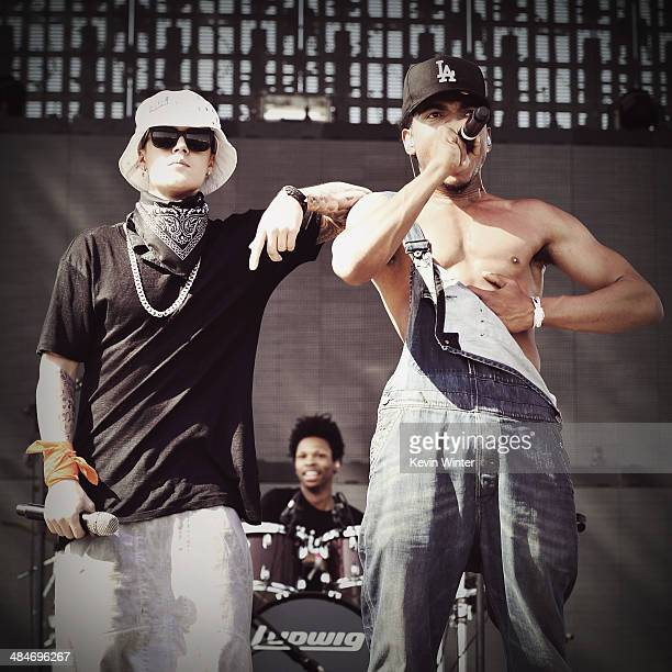 Singer Justin Bieber performs with Chance The Rapper onstage during day 3 of the 2014 Coachella Valley Music & Arts Festival at the Empire Polo Club...