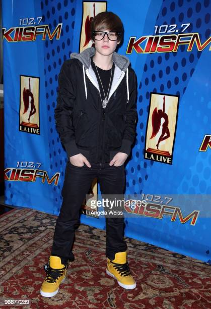 Singer Justin Bieber poses after his free concert presented by KIISFM at Nokia Plaza LA Live on February 13 2010 in Los Angeles California