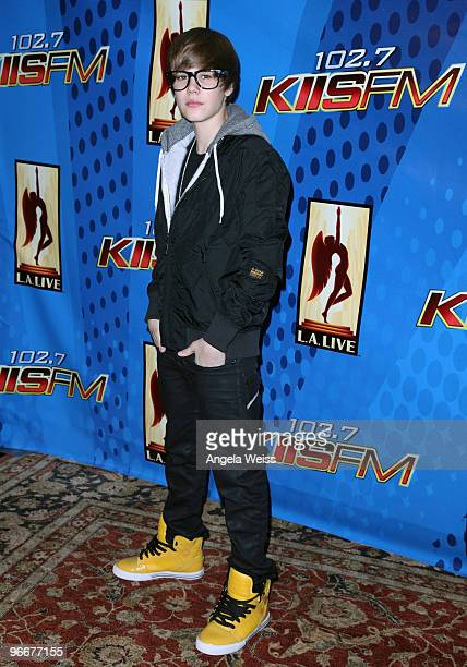 Singer Justin Bieber poses after his free performance presented by KIISFM at Nokia Plaza LA Live on February 13 2010 in Los Angeles California