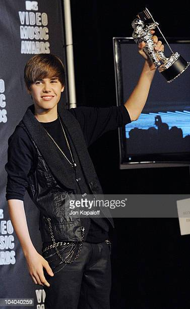 Singer Justin Bieber poses at the 2010 MTV Video Music Awards Press Room at Nokia Theatre LA Live on September 12 2010 in Los Angeles California