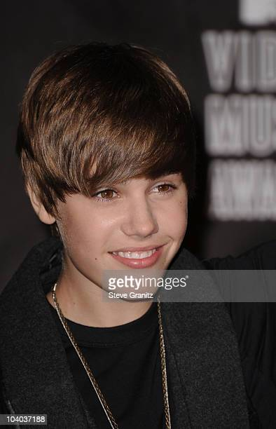 Singer Justin Bieber poses in the press room at the 2010 MTV Video Music Awards held at Nokia Theatre LA Live on September 12 2010 in Los Angeles...