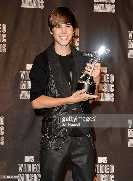 Singer Justin Bieber poses in the press room at the 2010 MTV Video Music Awards at Nokia Theatre LA Live on September 12 2010 in Los Angeles...