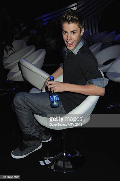Singer Justin Bieber poses in the VIP Glamour area during the MTV Europe Music Awards 2011 at Odyssey Arena on November 6 2011 in Belfast Northern...