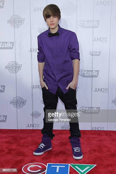 Singer Justin Bieber poses on CTV's Red Carpet at the 2010 Juno Awards at the Mile One Centre on April 18 2010 in Saint John's Canada