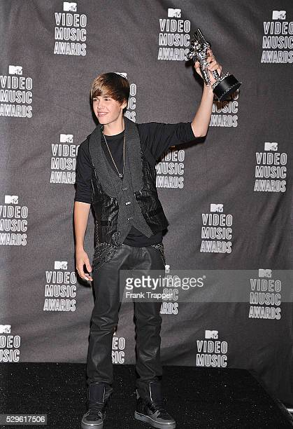 Singer Justin Bieber posing in the Press Room at the 2010 MTV Video Music Awards held at the Nokia Theater L A Live