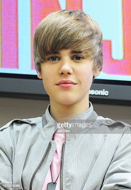 Singer Justin Bieber promotes his new album My Worlds at Tower Records Shinjuku on May 18 2010 in Tokyo Japan