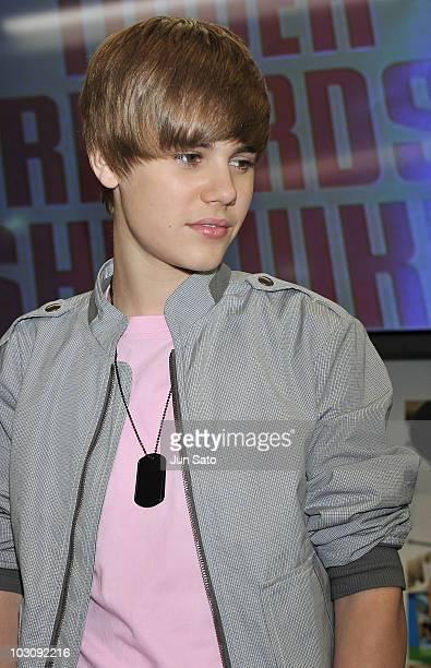 Singer Justin Bieber promotes his new album My Worlds at Tower Records Shinjuku on May 18 2010 in Tokyo Japan
