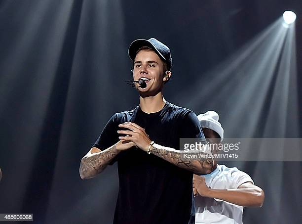 Singer Justin Bieber rehearses onstage for the 2015 MTV Video Music Awards at Microsoft Theater on August 28 2015 in Los Angeles California