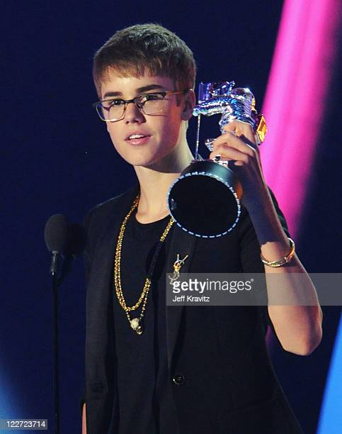 Singer Justin Bieber speaks onstage during the 2011 MTV Video Music Awards at Nokia Theatre LA Live on August 28 2011 in Los Angeles California