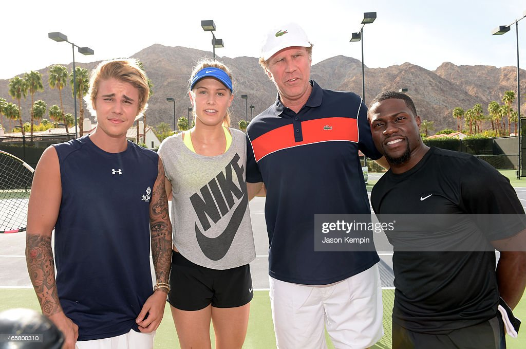 Singer Justin Bieber, tennis player Eugenie 'Genie' Bouchard, comedian Will Ferrell and comedian Kevin Hart attend the 11th Annual Desert Smash Hosted By Will Ferrell Benefiting Cancer For College at La Quinta Resort and Club on March 10, 2015 in La Quinta, California.