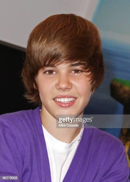 Singer Justin Bieber visits the Nintendo World Store on September 1 2009 in New York City