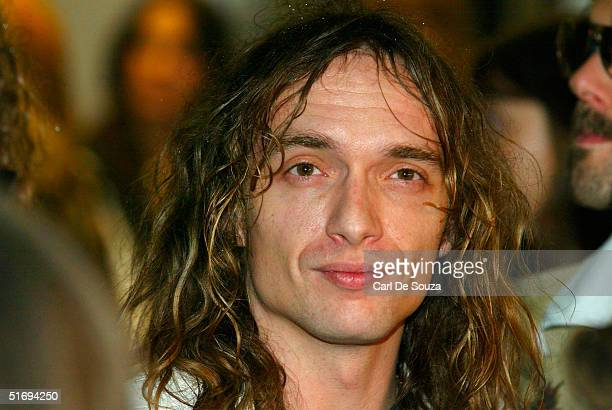 Singer Justin Hawkins of the rock music group The Darkness arrives at the Premiere screening of the new fourdisc DVD featuring 10 hours of footage...