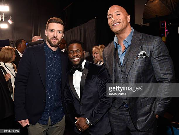 Singer Justin Timberlake actor Kevin Hart and actor Dwayne Johnson backstage at the People's Choice Awards 2017 at Microsoft Theater on January 18...