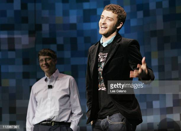 Singer Justin Timberlake addresses the audience as Microsoft Chairman and Chief Software Architect Bill Gates looks on during Gates keynote address...