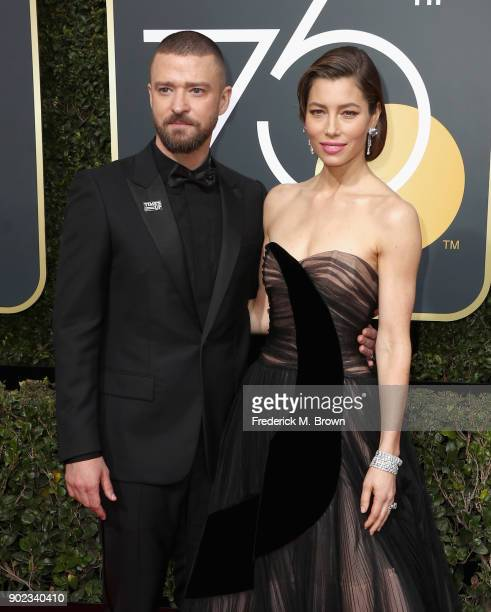 Singer Justin Timberlake and actor Jessica Biel attend The 75th Annual Golden Globe Awards at The Beverly Hilton Hotel on January 7 2018 in Beverly...