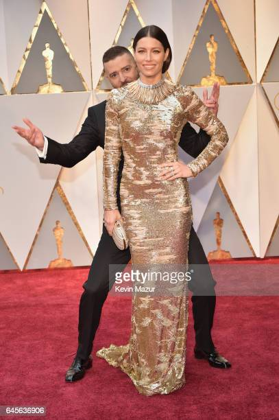 Singer Justin Timberlake and actor Jessica Biel attend the 89th Annual Academy Awards at Hollywood Highland Center on February 26 2017 in Hollywood...