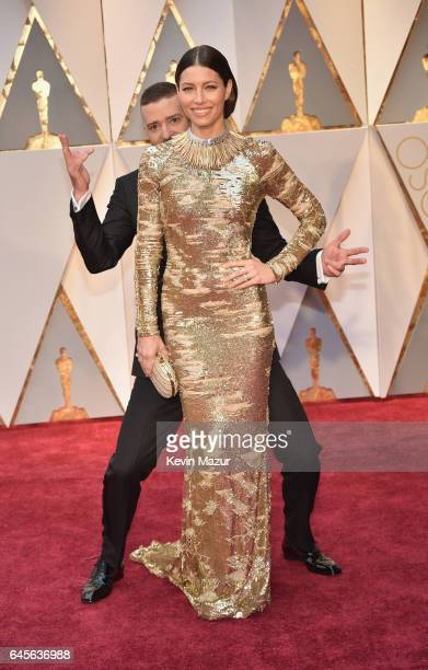 Singer Justin Timberlake and actor Jessica Biel attend the 89th Annual Academy Awards at Hollywood & Highland Center on February 26, 2017 in...