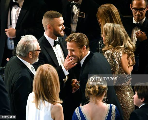 Singer Justin Timberlake and actor Ryan Gosling are seen in the aduience during the 89th Annual Academy Awards at Hollywood & Highland Center on...