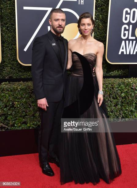 Singer Justin Timberlake and actress Jessica Biel attend the 75th Annual Golden Globe Awards at The Beverly Hilton Hotel on January 7 2018 in Beverly...
