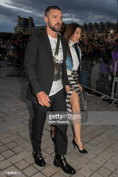 Singer Justin Timberlake and actress Jessica Biel attend the Louis Vuitton Womenswear Spring/Summer 2020 show as part of Paris Fashion Week on...