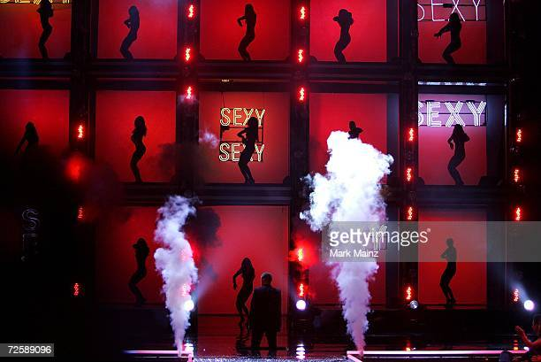 Singer Justin Timberlake and dancers perform on the runway during the Victoria's Secret Fashion Show held at the Kodak Theatre on November 16 2006 in...