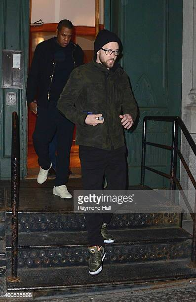 Singer Justin Timberlake and JayZ are seen outside Taylor Swift's house in Soho on December 15 2014 in New York City