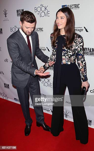 Singer Justin Timberlake and wife actress Jessica Biel attend the premiere of Electric Entertainment's The Book of Love at The Grove on January 10...