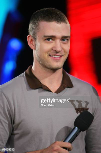 Singer Justin Timberlake appears onstage during MTV's Total Request Live at the MTV Times Square Studios on November 2 2005 in New York City