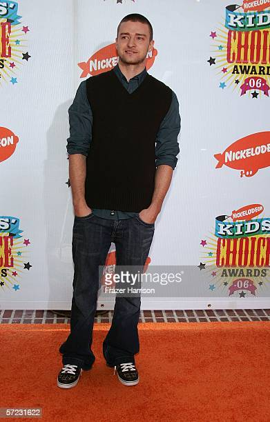 Singer Justin Timberlake arrives at the 19th Annual Kid's Choice Awards held at UCLA's Pauley Pavilion on April 1 2006 in Westwood California