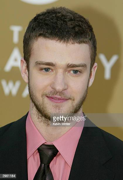 Singer Justin Timberlake arrives at the 46th Annual Grammy Awards held at the Staples Center on February 8 2004 in Los Angeles California