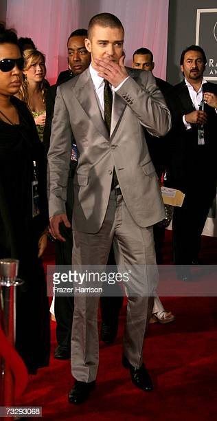 Singer Justin Timberlake arrives at the 49th Annual Grammy Awards at the Staples Center on February 11 2007 in Los Angeles California