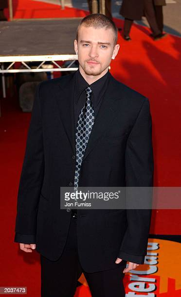 Singer Justin Timberlake arrives for the Brit Awards 2003 at Earls Court London on February 20 2003