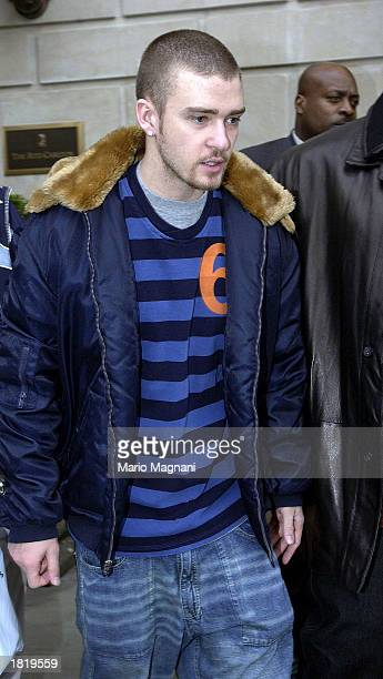 Singer Justin Timberlake arrives from London for the Grammys February 21 2003 in New York City