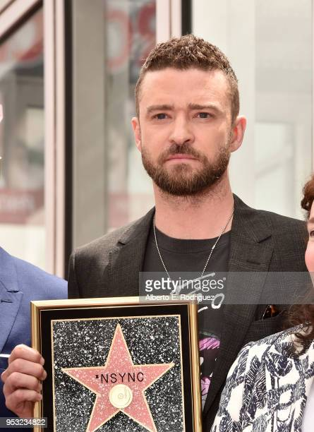 Singer Justin Timberlake as part of 'NSYNC is honored with a star on the Hollywood Walk of Fame on April 30 2018 in Hollywood California