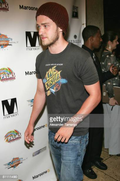 Singer Justin Timberlake attends the 6th annual N'SYNC's Challenge for the Children Celebrity scavenger hunt finale on July 23 2004 at club Mansion...