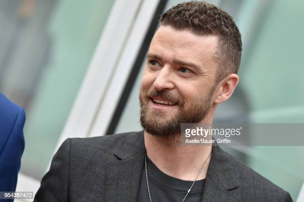 Singer Justin Timberlake attends the ceremony honoring NSYNC with star on the Hollywood Walk of Fame on April 30 2018 in Hollywood California