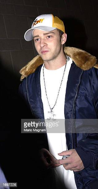 Singer Justin Timberlake leaves a midtown hotel on December 16 2002 in New York City