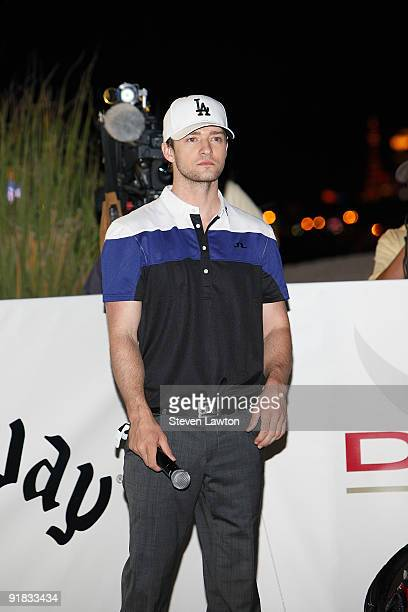 Singer Justin Timberlake looks at the course during his attempt to win a one million charitable donation to Shriners Hospitals for Children by...