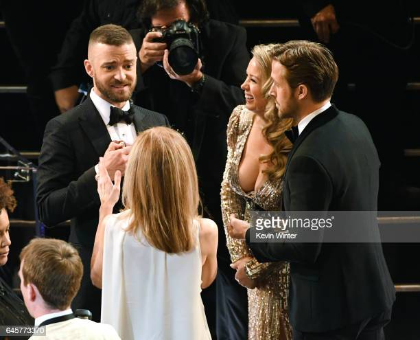 Singer Justin Timberlake, Mandi Gosling and actor Ryan Gosling attend the 89th Annual Academy Awards at Hollywood & Highland Center on February 26,...