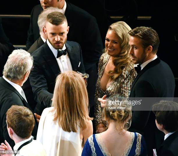 Singer Justin Timberlake, Mandi Gosling and actor Ryan Gosling attends the 89th Annual Academy Awards at Hollywood & Highland Center on February 26,...