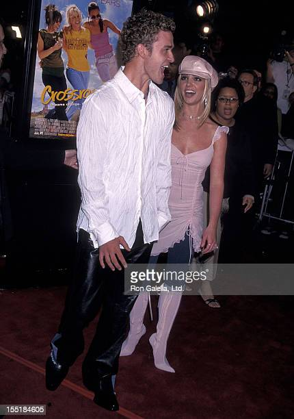Singer Justin Timberlake of N'Sync and singer Britney Spears attend the Crossroads Hollywood Premiere on February 11 2002 at Grauman's Chinese...