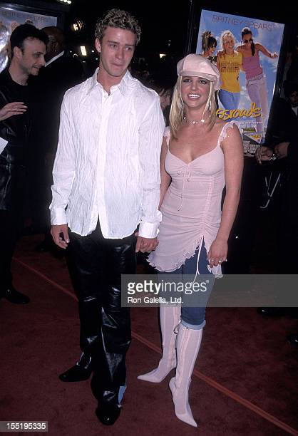 Singer Justin Timberlake of N'Sync and singer Britney Spears attend the 'Crossroads' Hollywood Premiere on February 11 2002 at Grauman's Chinese...
