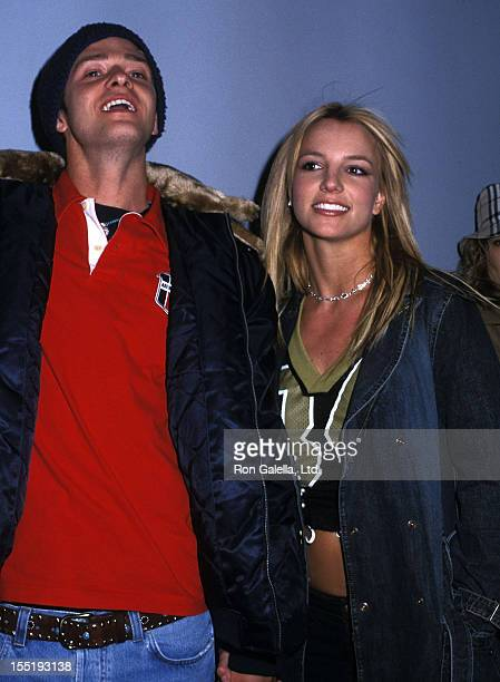 Singer Justin Timberlake of N'Sync and singer Britney Spears host the Super Bowl XXXVI Fundraiser Party on February 3 2002 at Planet Hollwyood Times...