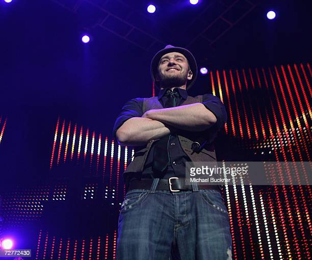 Singer Justin Timberlake performs at KIIS FM's Jingle Ball 2006 at the Honda Center on December 7 2006 in Anaheim California