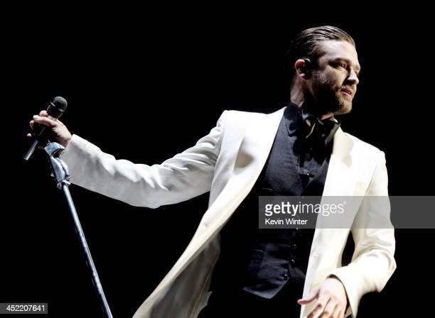 Singer Justin Timberlake performs at The Staples Center on November 26 2013 in Los Angeles California