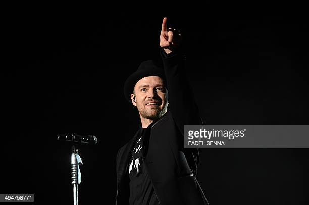 US singer Justin Timberlake performs during the 13th edition of the Mawazine music festival in Rabat Morocco on May 30 2013 AFP PHOTO / FADEL SENNA