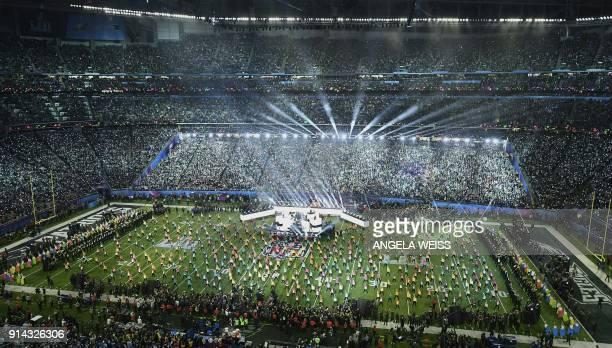 TOPSHOT Singer Justin Timberlake performs during the halftime show of Super Bowl LII at US Bank Stadium in Minneapolis Minnesota on February 4 2018 /...