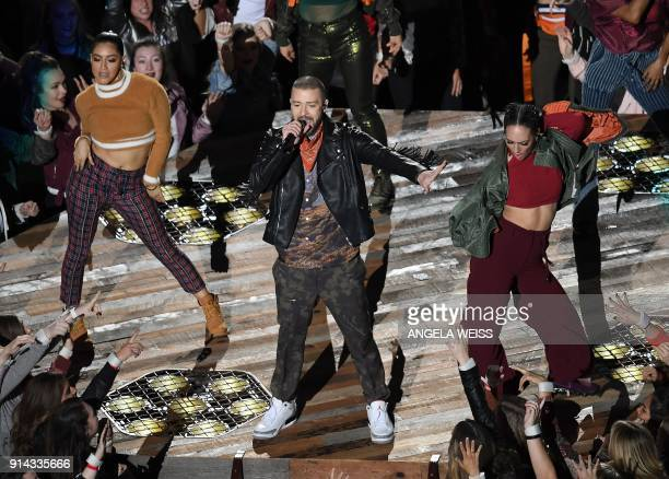 Singer Justin Timberlake performs during the halftime show of Super Bowl LII at US Bank Stadium in Minneapolis, Minnesota, on February 4, 2018. / AFP...