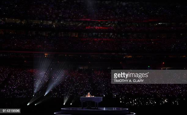 Singer Justin Timberlake performs during the Pepsi Super Bowl LII Halftime Show at US Bank Stadium in Minneapolis Minnesota on February 4 2018 / AFP...